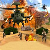 武装直升机射击空袭